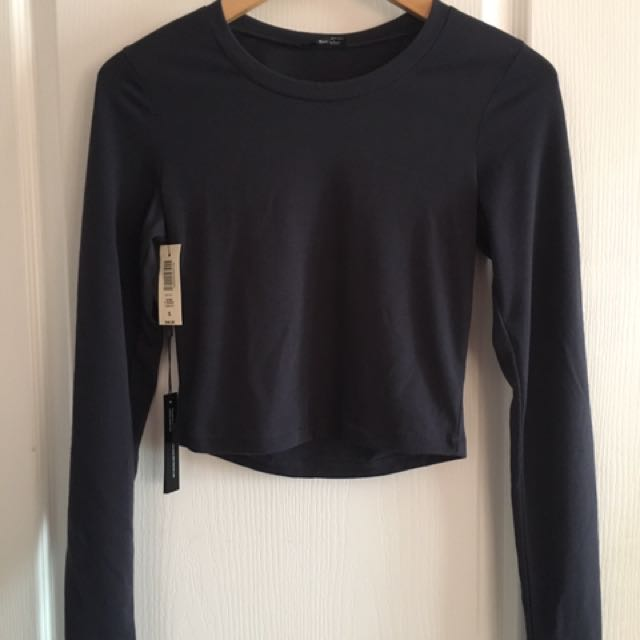 NWT Navy Blue Wilfred L/S Crop Top