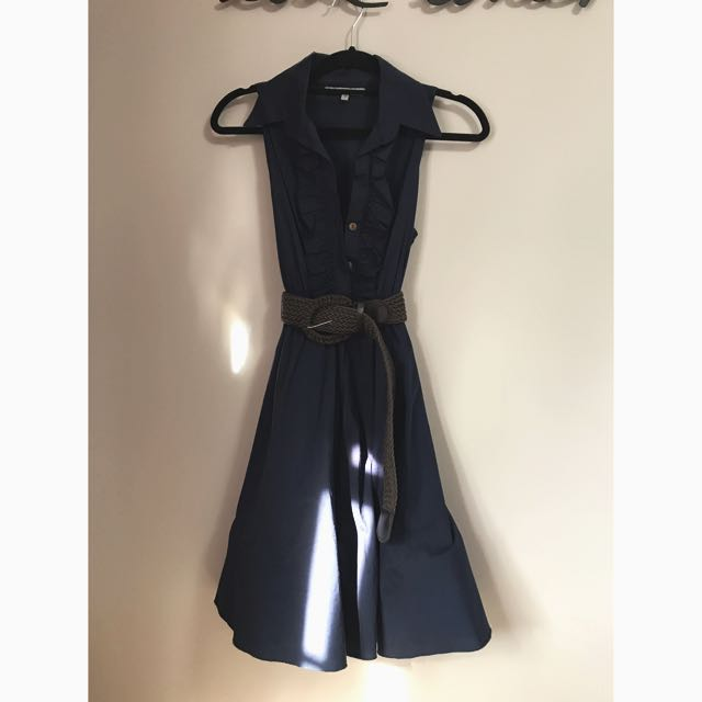Navy Swing Dress From Lulus, S