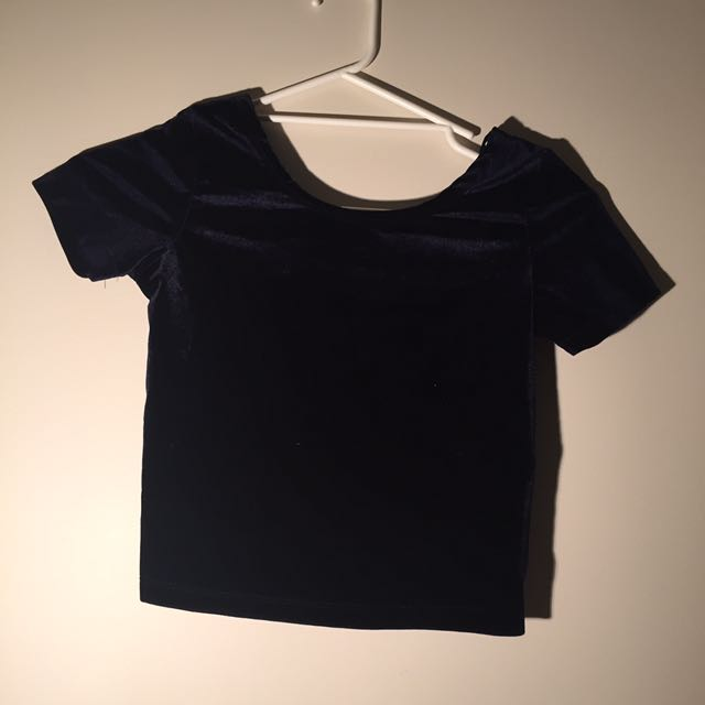 Navy Velvet Crop Top