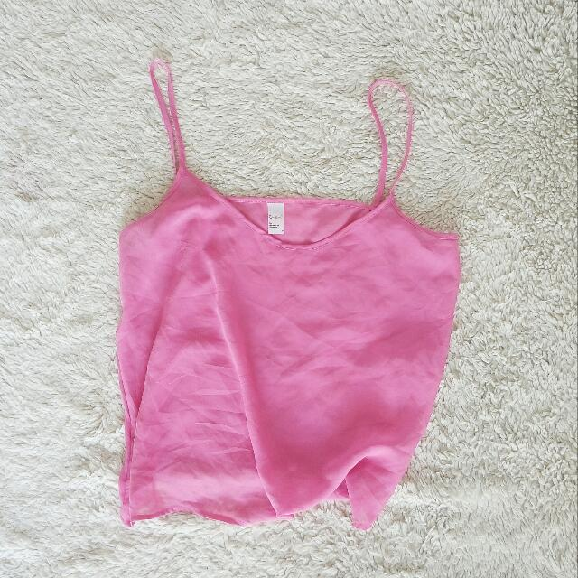 Sheer Neon Pink Spaghetti Top By American Apparel