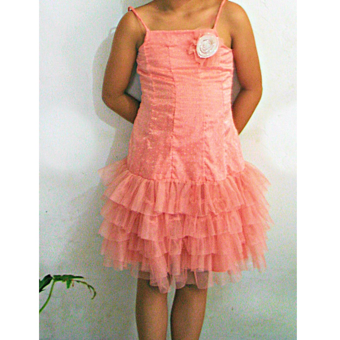 Peach Party Dress For Kids 4 to 7 Years Old