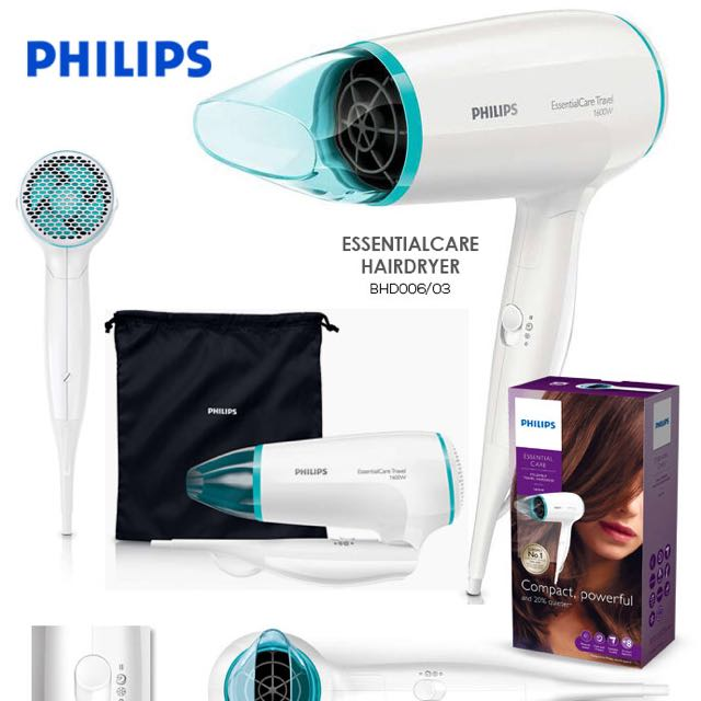 Philips Essential Care Foldable Travel Hairdryer BHD006  1600W ... 772ce04c9f