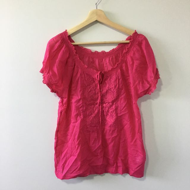 Pink Off Shoulder Boho Top