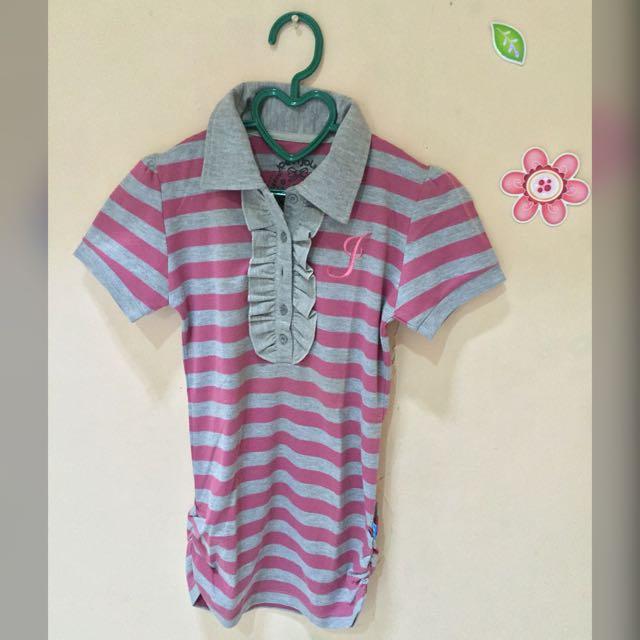 Pink Stripes Polo Shirt By JJ Kids