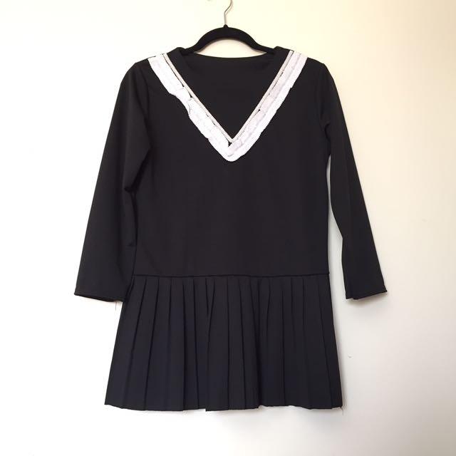 Pleated Dress w/ Trim Detailing
