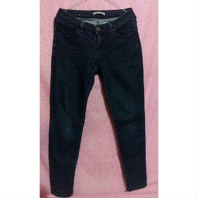 [Preloved] Celana Jeans Panjang Hitam Glow Blue By Triple Ladies Jeans