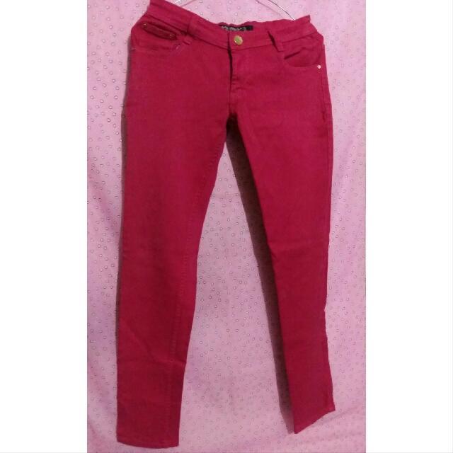 [Preloved] Celana Jeans Panjang Pink Fanta By Zara Collection