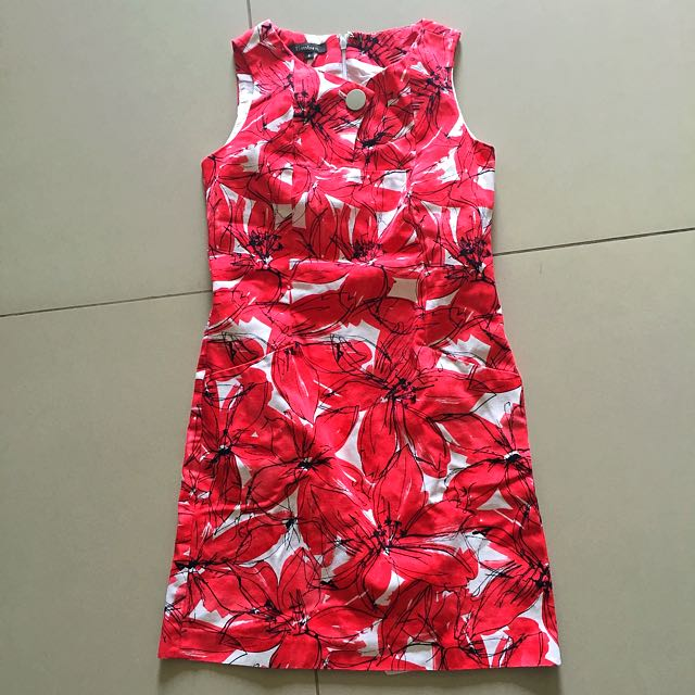 Red Abstract/Floral Printed Dress