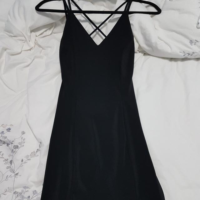 Short Open Back Black Dress
