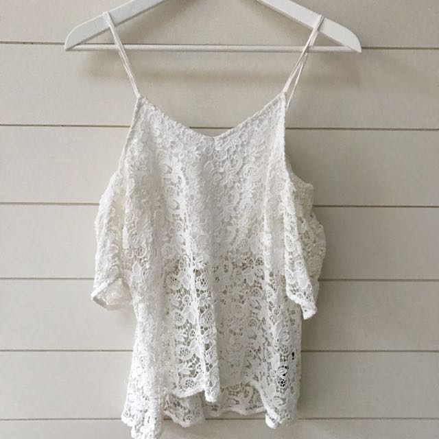 Sportsgirl white lace cut out shoulder too