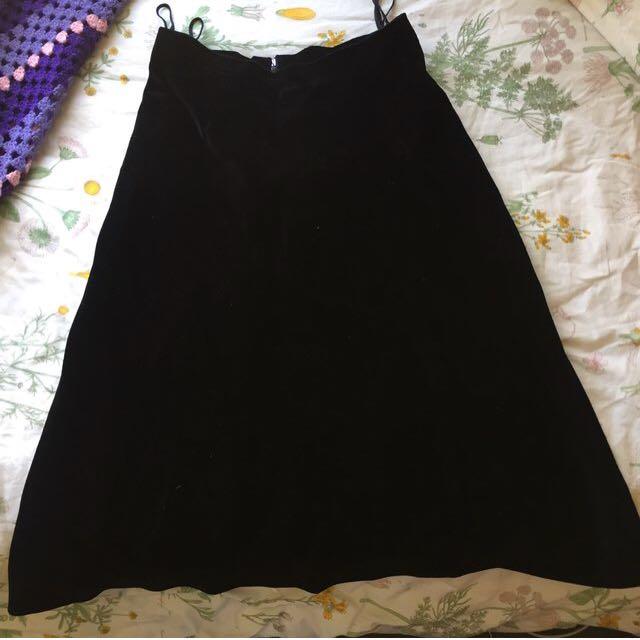 Vintage Goth Velvet Skirt
