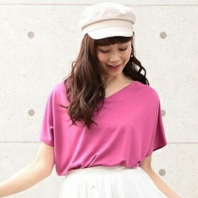 ViS 佐佐木希著用*光澤感柔軟人造絲雙面穿飛鼠袖上衣~桃紅