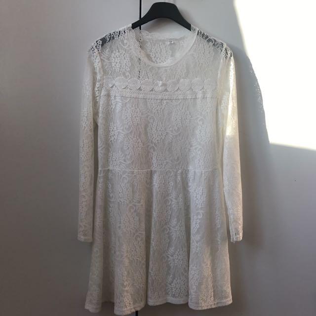 White Long Sleeve Mid Dress