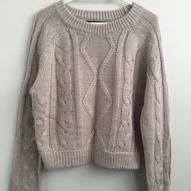 Women's Beige Oversized Crop Knit Sweater