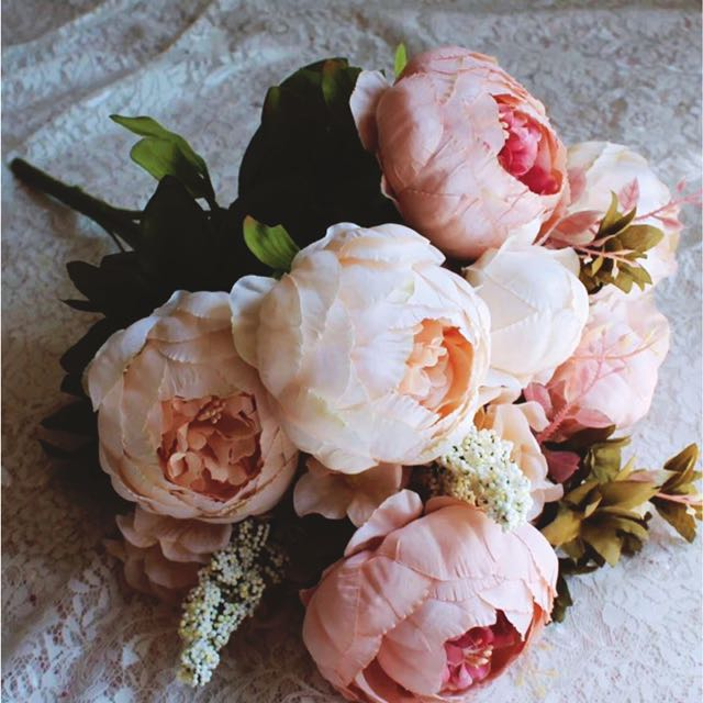 Yourstalkmarket Artificial Hand Flower Bouquet Baby Pink Peony Peonies Design Craft Others On Carou