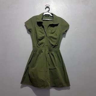 Preloved Army Green Short Dress