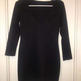 Black Scuba Long Sleeve Dress