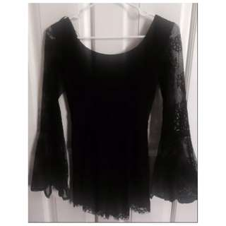 Black Lace, Bell Sleeve Embroidered One-piece