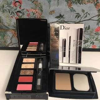 迷你版dior眼唇妝盤、3D睫毛增量底膏、光柔恆色無瑕絲柔粉蕊