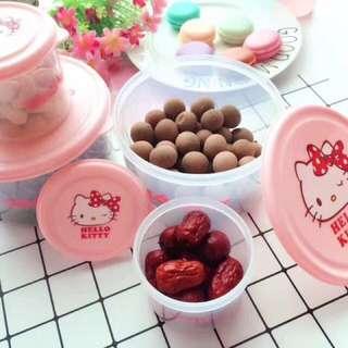 🚚 Kitty 雙子星 正版輕鬆熊保鮮盒 可用於微波爐 做飯盒  也可以放食品 糖果 水果 收納一些雜物兒童粘土收納
