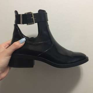 LIKE NEW Zara Rubber Peep Hole Ankle Boot