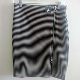 Stripe Skirt With Zip