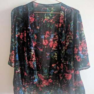S/M Flower Print Kimono