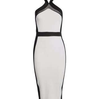 Cross Front Mesh Midi Bodycon Dress