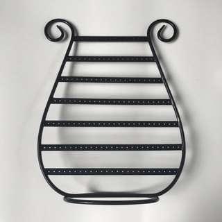 Harp-shaped Black Metal Earring Rack