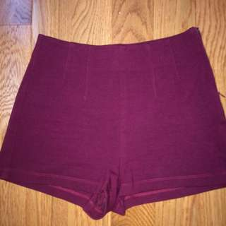 Maroon High Waisted Shorts