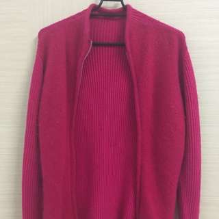 桃紅毛衣外套