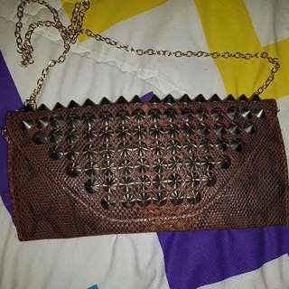 Snake Leather Buckle Bag