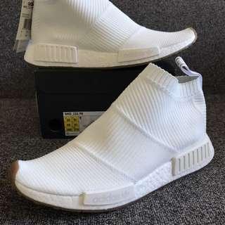 New Adidas Nmd CS1 Prime Knit Triple White Gum US 10