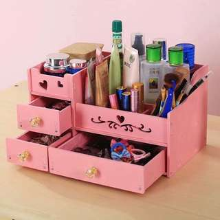 Waterproof D.I.Y Hard Wooden Desk Makeup Organizer Cosmetic