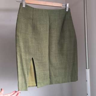 Vintage Green Mini Skirt w/Split