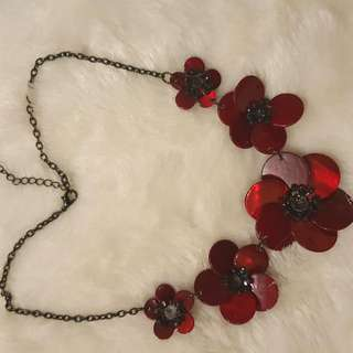 LeChateau Red Flowers Statement Necklace