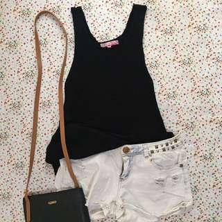 COANDLU Black Knit Sleeveless Top