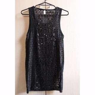 Black sort& sleeveless dress