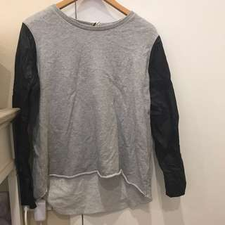 All About Eve Grey Jumper With Faux Leather Sleeves