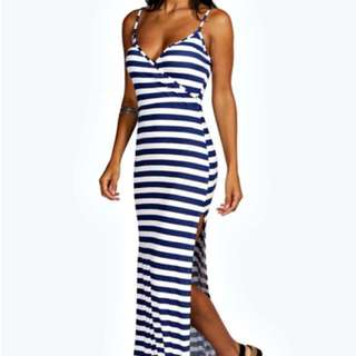 NEW Navy Stripped Maxi Dress - Size 2