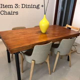 Solid Wood Industrial Dining Table + 4 Chairs