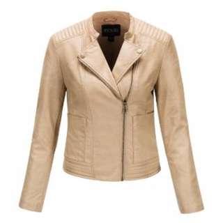 Beige Faux Leather Jacket