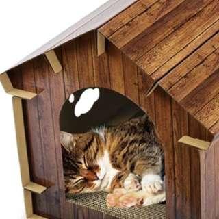 仿木頭寵物房子貓窩瓦楞紙