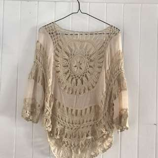 Crocheted Cream Top