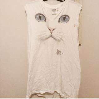 Vintage Singlet Boyfriend Cat Top Old School