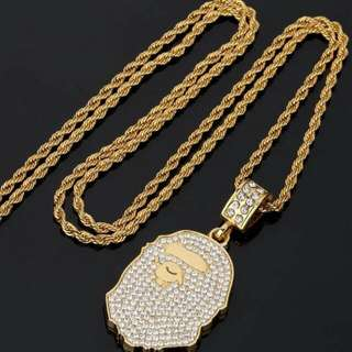 BAPE Gold Pendant And Chain