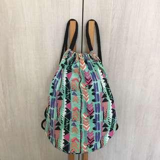 H&M 帆布圖騰束口袋