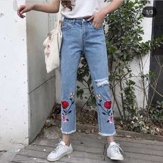 Bn Rose Embroidery Jeans