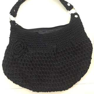 Bali Handmade Black Crochet Shoulder Bag