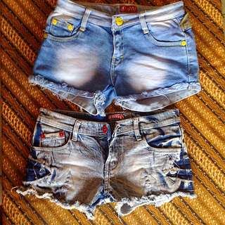 2pcs Hot Pants Denim